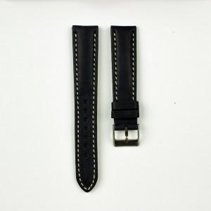 horlogeband classic runderleer blauw