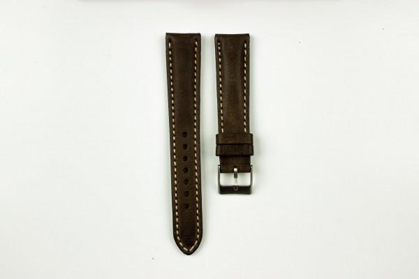 horlogeband classic runderleer donkerbruin