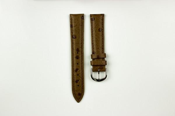 horlogeband struisvogelprint donkerbruin