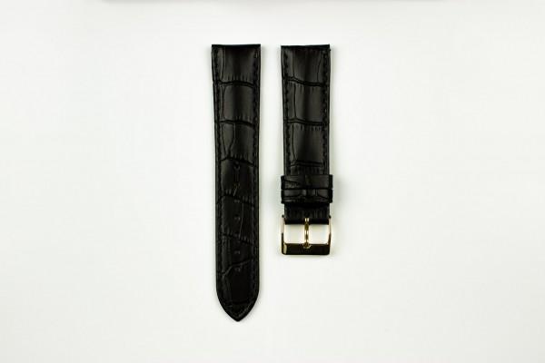 horlogeband croco zwart